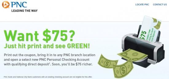Pnc Bank 75 Bonus Free Checking Account Banking Deals