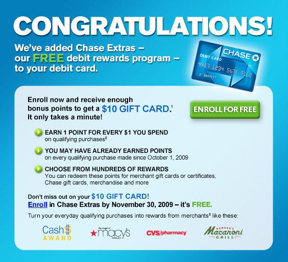 Chase Debit Card $10 Bonus For Joining Rewards Program