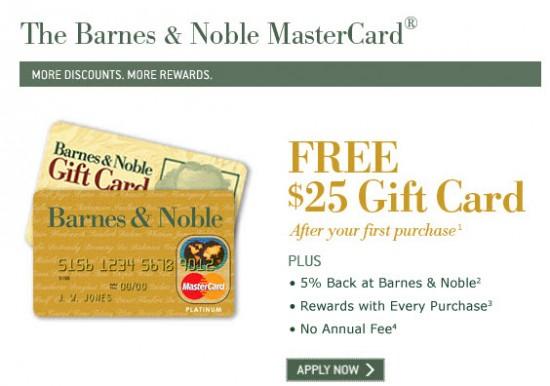 Barnes Amp Noble Credit Card 25 Gift Card Bonus And 5