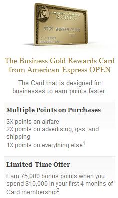 Amex Business Gold 75 000 Bonus Points Banking Deals